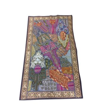 Mogul Ethnic Indian Decorative Tapestry Beaded Patchwork Pink Embroidered Table Runner Wall Throw 70 x 48 - Walmart.com
