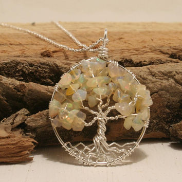 Petite Sterling Silver Tree Of Life Ethiopian Welo Opal Necklace On Sterling Chain Wire Wrapped Pendant Jewelry October Birthstone