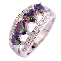 Heart Cut Rainbow Topaz 925 Silver Ring Size 6 7 8 9 10 11 12 New Design New Fashion Jewelry Gift  For Women