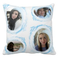 Throw Pillow 5 Picture Frames purple