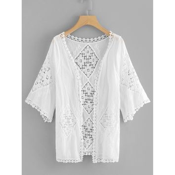 Women's White Cut Out Crochet Detail Kimono Swimsuit Cover Up