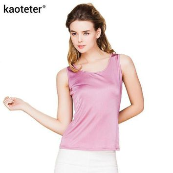 VON3TL 100% Real Silk Women Tank Tops Femme O-Neck Tee Shirt Tops Women Sleeveless Candy Color Female Basic Wild Causal Vest Top Shirts