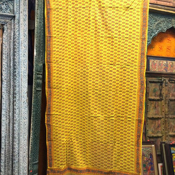 2 India Curtains Yellow Cotton Sari Drapes Curtain Panels Window Dressing