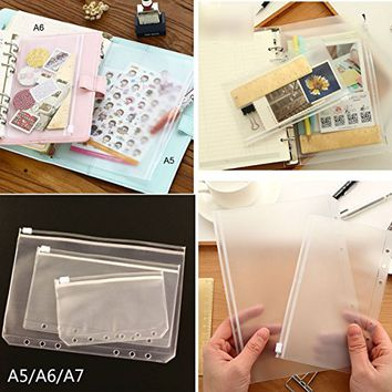 DadaCrafts(TM) 4-Packs Clear Plastic Zipper Pockets for A6 6-Ring Notebook Binder