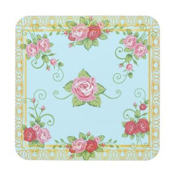 Pretty Old Roses Blue Gold Vintage Tile Pattern Beverage Coasters
