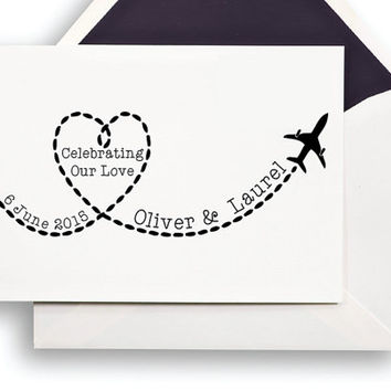 Personalized Wedding Stamp - Save the Date, Announcement, Invitation, RSVP - Handle Mounted or Self Inking - Plane Route 114