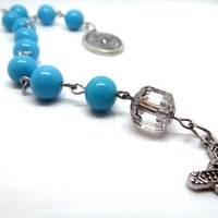 Aqua Blue Vintage Glass Beads Rosary Chaplet One Decade