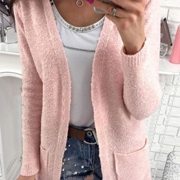 Pink Pockets V-neck No Button Long Sleeve Cardigan Sweater