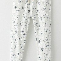 White Drawstring Pants with Floral Print