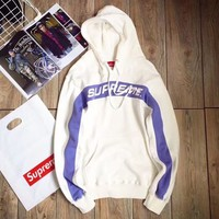 Supreme 5 Colors Patchwork Knit Hoodies Sweatershirt [11555860620] White I