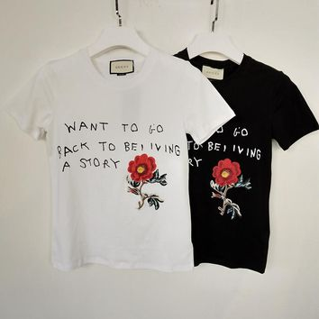 Gucci Flower Embroidered Cotton T-shirt
