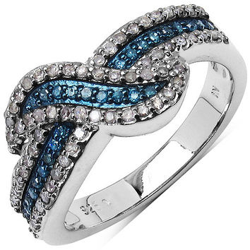 0.48 Carat Genuine Blue Diamond & White Diamond .925 Sterling Silver Ring