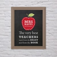Teacher Gift, Teacher Wall Art, Teachers teach from the heart, Personalized Teacher's Gift, Teacher Thank You