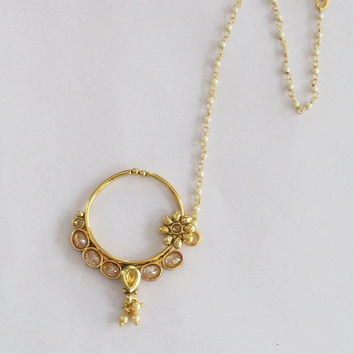 Gold Crystal Nose Ring With Chain/South Indian Bridal Nose Nath Hoop/Non Pierced Delicate Nose Ring/Fake Nose Hoop/Fashion Septum Helix Hoop