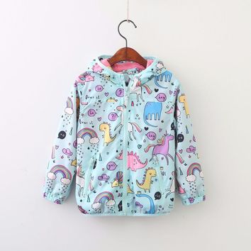 Cartoon Dinosaur Rainbow Hoodie