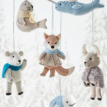 Martha Stewart Living™ Arctic Animal Felt Ornaments - Set of 6 - Ornaments - Christmas Tree Ornaments - Holiday Decor | HomeDecorators.com