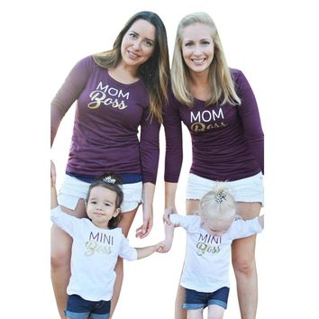 Family clothes T-Shirt Mom Me Women Mom Long Sleeve Letter