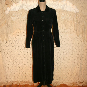 Long Sleeve Winter Dress Cotton Black Corduroy Dress Button Up Casual Dress Duster Coat Long Black Dress Medium Womens Clothing