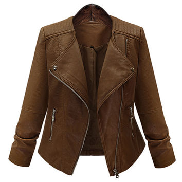 European Appear Spring Women Short Coat Automotive Style 5XL US Army Female Locomotive Leather Jacket Lady Short Overcoat S125