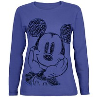 Mickey Mouse - Sketchy Juniors Long Sleeve T-Shirt
