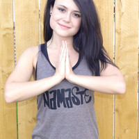 Matching namaste & OM symbol women's yoga by AbundantHeartApparel