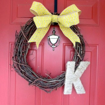 Spring Summer Grapevine Wreath - Monogrammed Wreath - Yellow Chevron Burlap Bow - Twine Letter - Easter