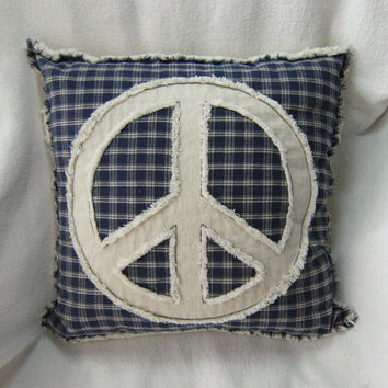Peace sign pillow cover, navy plaid woven cotton and natural denim 16""