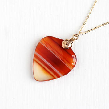 Antique Rose Gold Filled Banded Agate Heart Necklace - Victorian Red, White, Orange Striped Gem Fob Charm on 14k Gold Filled Chain Jewelry