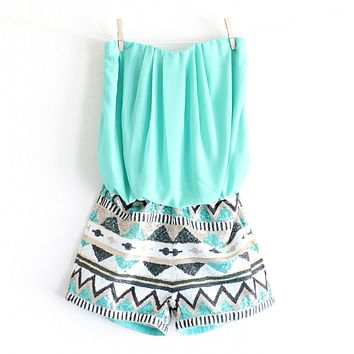 final sale - strapless aztec sequin romper | turquoise