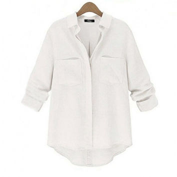 Women Casual Long Sleeve Linen Blend Button Down Shirt Irregular Hem Loose Blouse