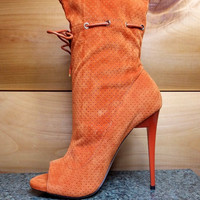 "Alectrona Open Toe Perforated Drawstring Ankle Boots Orange  - 4.75"" Heels"