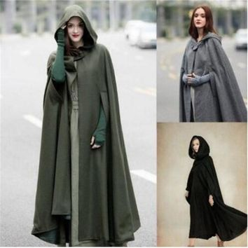 Europe America Medieval Retro Hooded Cape Vintga Cosplay Costumes Lengthen Cloak Magic Robes Christmas Halloween