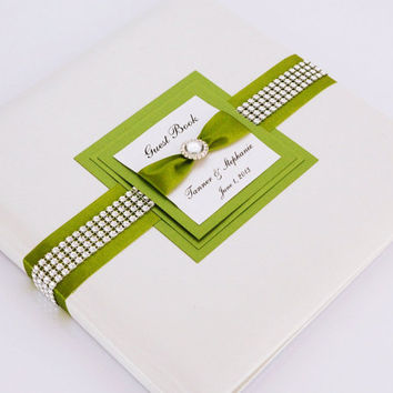 Wedding Guest Book - Personalized - green