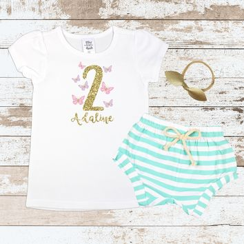 Custom 2nd Birthday Butterfly Mint Shorts Outfit