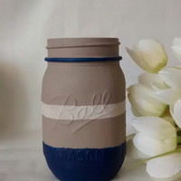 Painted Mason jar, Vase, blue mason jar, mason jar with stripes, desk organizer, home decor.