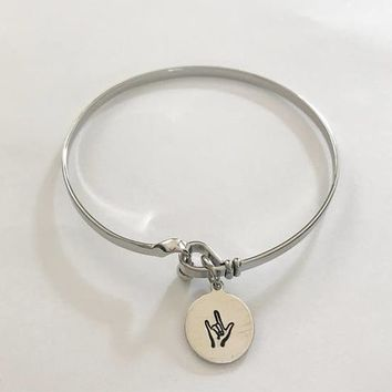 ASL bracelet- hand stamped jewelry - sign language