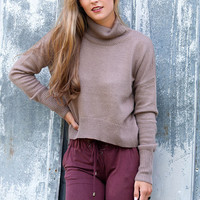 Distant Sunsets Dark Mocha Long Sleeve Turtleneck Sweater Crop Top