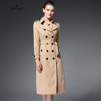 Trench Coat For Women Basic Coats British Style Ladies Long Windbreaker Coat Double Breasted Casual Coat