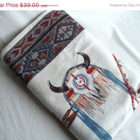 "SALE Native American printed blanket/ vintage felt blanket/ polyester-acrylic blend/ measures 72"" x 86 1/2"""