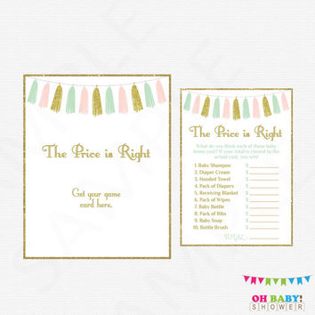 The Price is Right Baby Shower Game, Pink Mint Gold Baby Shower, Baby Shower Sign, Baby Price is Right, Girl Baby Shower, Printable, TASPMG