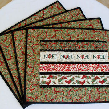 Quilted Christmas Placemats Noel Placemats Table Mats Traditional Table Decor Set of 4
