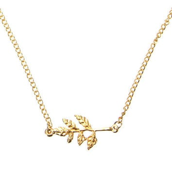 Branch Tree Leaves Pendant Necklace For Women Gold Silver