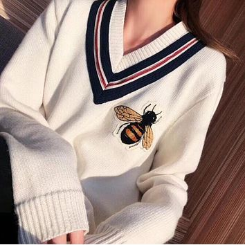 GUCCI Hot Sale Trending Women Stylish Bee Embroidery Long Sleeve Stripe V Collar Knit Sweater Top Sweatshirt White