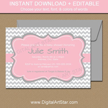 Baby Shower Invitation Template - EDITABLE Baby Shower Invitation Instant Download - Pink Grey Chevron Printable Bridal Shower Invites PGCD