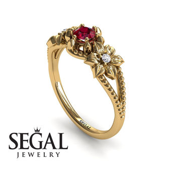 Unique Engagement Ring 14K Yellow Gold Flowers Art Deco Filigree Ring Ruby With White diamond - Kennedy