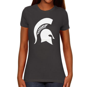 Michigan State Spartans Women's Core Logo Too Slim Fit T-Shirt – Dark Gray