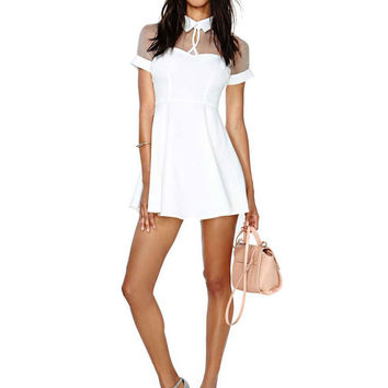 Pointed Flat Collar Short Sleeve A-Line Mini Skater Dress with Mesh Accent
