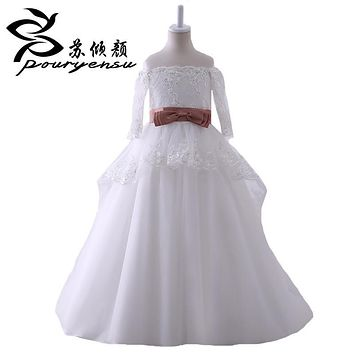 Hot Sale Real Pics Lace Appliques Flower Girl Dresses For Wedding Floor Length 3/4 Sleeves Kids Wedding Party Gown With Sash