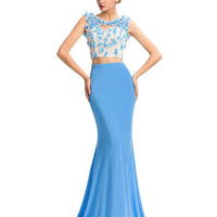 Grace Karin  Two Pieces Floor-Length Sky Blue Evening Formal Dress Mermaid Bridesmaids Pageant Ball Gown Prom Party Dress GK000049