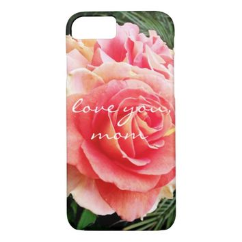 """""""Love you"""" bright pink rose photo cell phone case"""